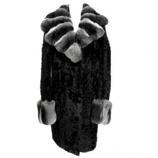 YSL black chinchilla astrakhan coat