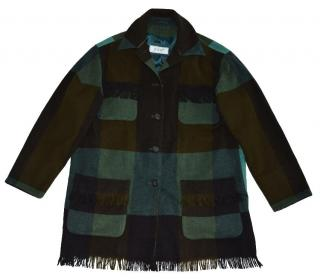 Joop Tartan Wool  Angora Coat with fringe