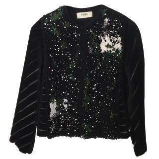 Fendi embellished shearling jacket