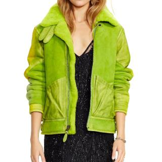 Polo Ralph Lauren lime-green shearling jacket