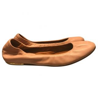 Lanvin nude ballerinas with gold trim