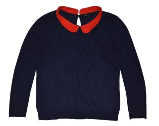 MAJE Blue  sweater with red collar