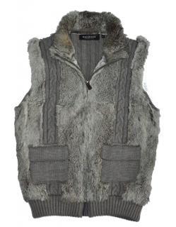 OAKWOOD Real Rabbit Fur zip Vest with wool back