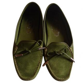 Tod's green suede driving loafers