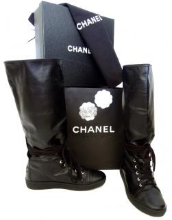 Chanel black flat leather boots