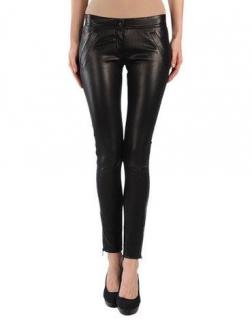 Dolce and Gabbana Leather Gabardine Trousers