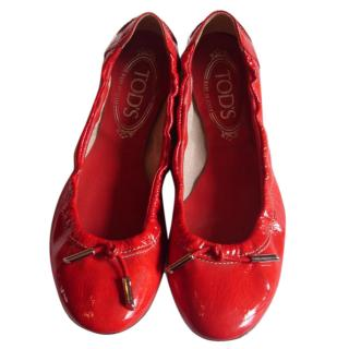 Tod's red patent leather ballet shoes
