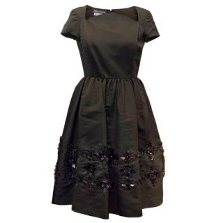 Oscar de la Renta Dark Brown Dress with Embellished Hem