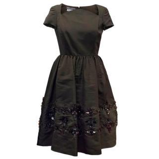 Oscar de la Renta Dark Brown Dress with Embellished Hem