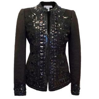 Oscar de la Renta Dark Brown Embellished Jacket