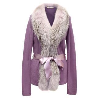 Blumarine Purple Cardigan with Lilac Fox Fur Collar Trim