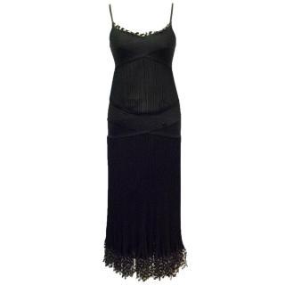 Chanel Black Ribbed Strappy Dress