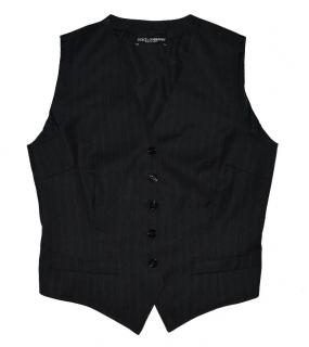 Dolce and Gabbana Black Wool Vest with leopard print lining
