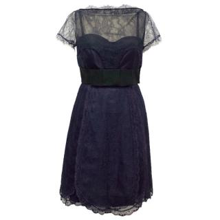 Bluemarine Navy Lace Corset Dress