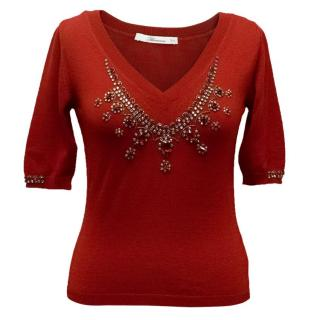 Bluemarine Red Knitted Embellished Top