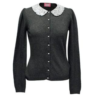 Bluegirl Bluemarine Grey Cardigan with Embellished Collar