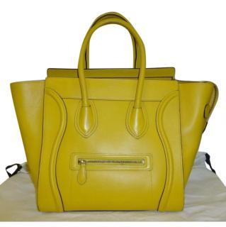Celine Yellow Mini Luggage Leather Bag
