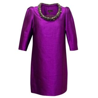 Mulberry Purple Shiny Shift Dress with Embellished Neckline