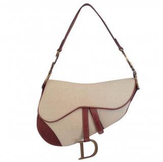 Christian Dior saddle canvas and leather beige handbag