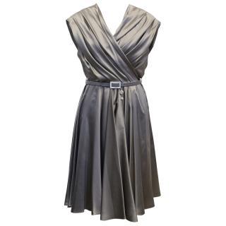 Christian Dior Grey Silk Skater Dress with Belt