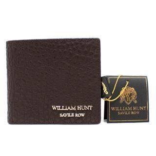 William Hunt Brown Brown Pebbled Leather Wallet