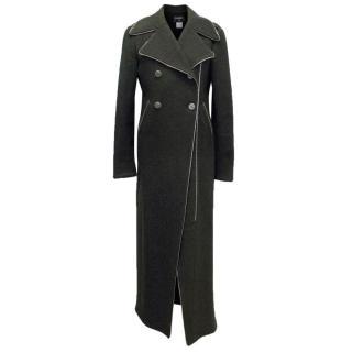 Chanel Dark Grey Longline Coat with Zip Detailing