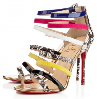 CHRISTINA LOUBOUTIN MARINIERE Python MULTI-COLOUR STRAPPY SANDLE STILETTO SHOES