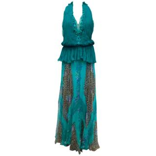 Bluemarine Bright Blue Printed Halterneck Gown