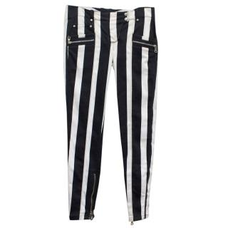 Balmain Black and White Striped Skinny Jeans