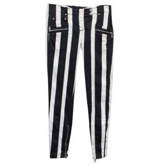 Balmain Black and White Striped Skinny Jeans