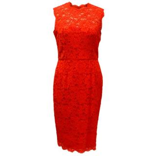Valentino Red Lace Fitted Midi Dress
