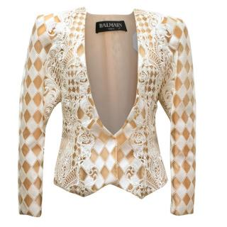 Balmain Nude and White Embroidered Jacket