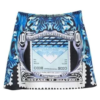 Mary Katrantzou 'Kal' Blue Leather Printed Mini Skirt