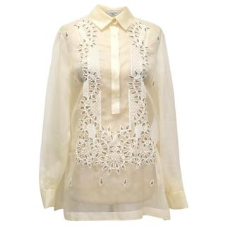 Valentino Sheer Cream Blouse