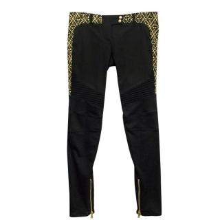 Balmain Black Skinny Jeans with Gold Embroidery