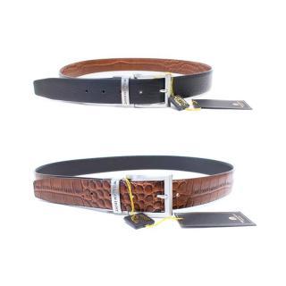 William Hunt Black and Brown Crocodile Print Reversible Leather Belt