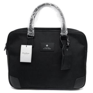 Hardy Amies Black Canvas and Leather Briefcase