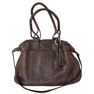 William & Son Soft brown leather snake skin ladies shoulder bag