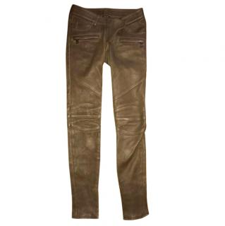 Brown Balmain Biker Leather Pants