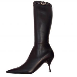 Prada never worn black leather boots, mid heel, 4.5 UK