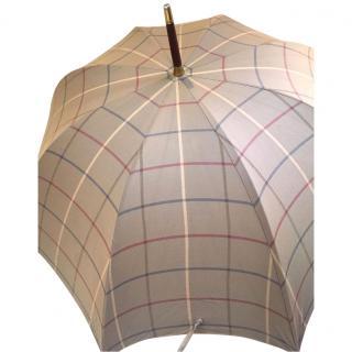 Vintage Burberry Walking Stick Umbrella Nova Check Wood Handle