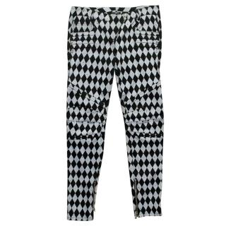 Balmain Black and Grey Harlequin Print Skinny Jeans