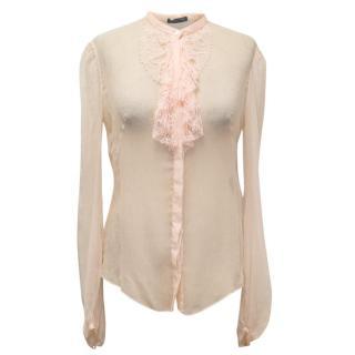 Alexander McQueen Powder Pink Sheer Silk Blouse