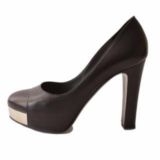 CHANEL Black Leather Silver Toe Logo Pumps