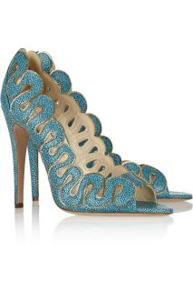 Brian Atwood Yana chain trimmed teal stingray effect leather heels