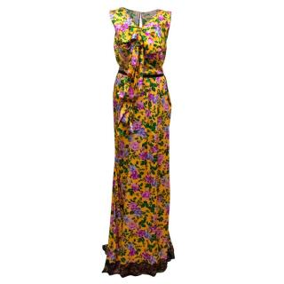 Nina Ricci Yellow Silk Floral Gown