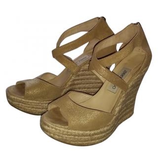 Jimmy Choo Passion Gold Wedge Sandals Size 40