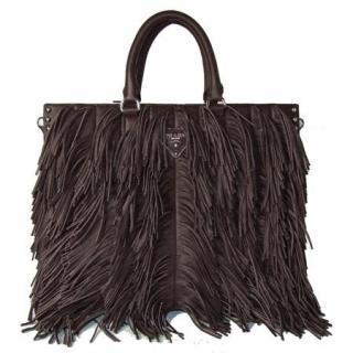 Prada Dark Brown Nappa Leather Fringe Bag