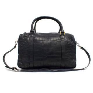Balmain Black Crocodile Skin Tote Bag