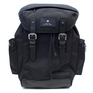 Hardy Amies Black Canvas and Leather Backpack